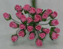 4mm PINK ROSE BUDS Mulberry Paper Flowers